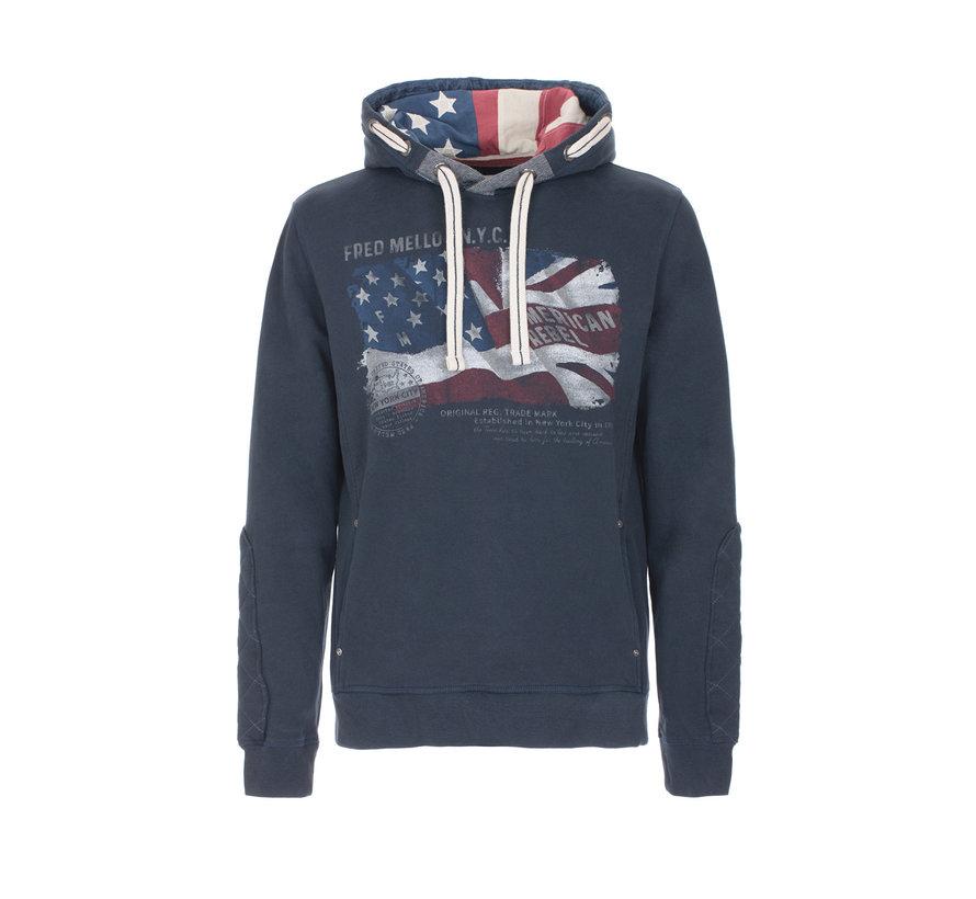 Hooded Sweater Blue Opdruk (FM19W08FC - 684)