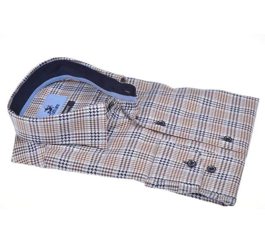 Overhemd Modern Fit Ruit Bruin/Navy (504056 - 45)