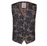 A Fish named Fred Gilet Ruit Print Navy/Bruin (92.02.132)