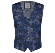 A Fish named Fred Gilet Ruit Print Navy/Blauw (92.02.131)