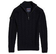Superdry Half Zip Trui Kabel Jacob Henley Navy (M6100022A - T6K)