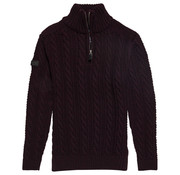 Superdry Half Zip Trui Kabel Jacob Henley Donker Paars (M6100022A - UX6)