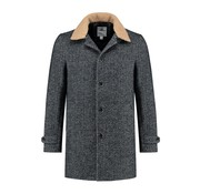 Dstrezzed Coat Herringbone Wool Navy (101260 - 649)