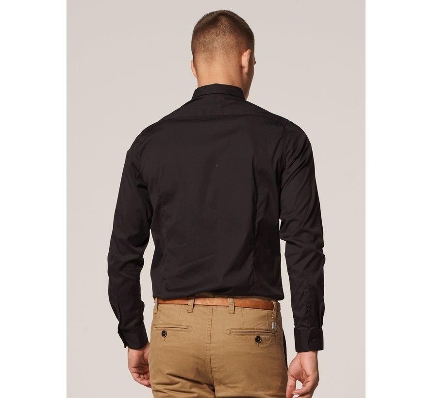 Overhemd Regular Collar Italian Stretch Poplin Black (303226 - 999)