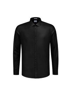Dstrezzed Overhemd Regular Collar Italian Stretch Poplin Black (303226 - 999)