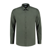 Dstrezzed Overhemd Regular Collar Italian Stretch Poplin Army Groen (303226 - AW19 - 524)