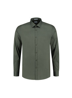 Dstrezzed Overhemd Regular Collar Italian Stretch Poplin Army Groen (303226 - AW19 - 524)