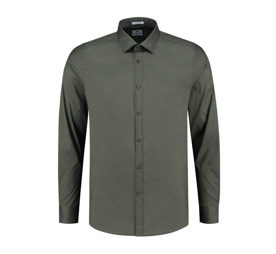 Overhemd Regular Collar Italian Stretch Poplin Army Groen (303226 - AW19 - 524)