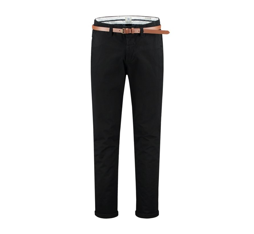 Presley Loose Chino Pants With Belt Stretch Twill Black (501328 - 999)