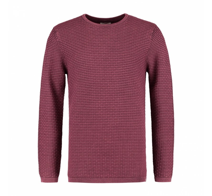 Pullover Crew Acid Structure Bordeaux Rood (404122 - 423)