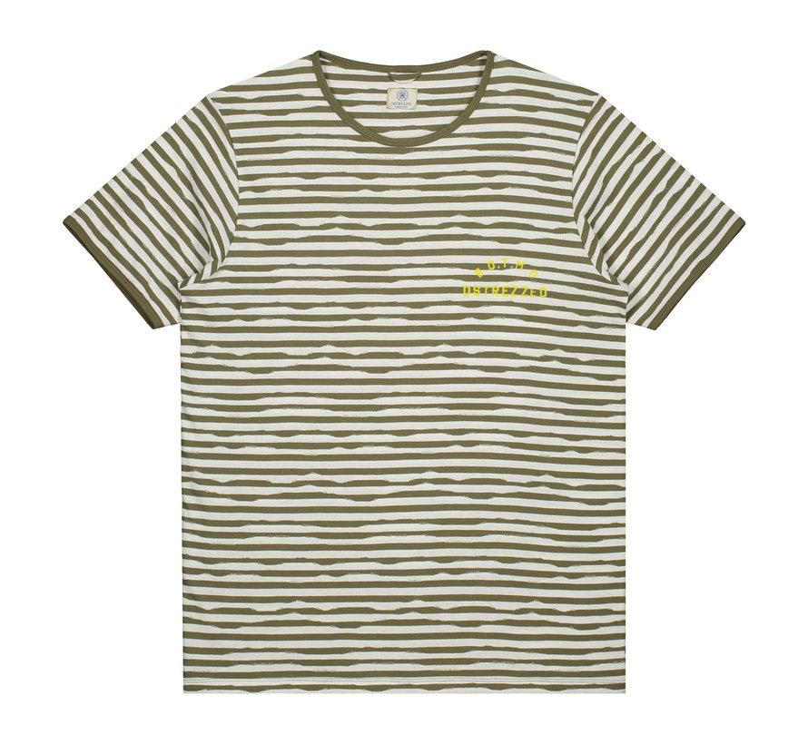 T-shirt Gestreept Army Groen/Wit (202362 - 511)