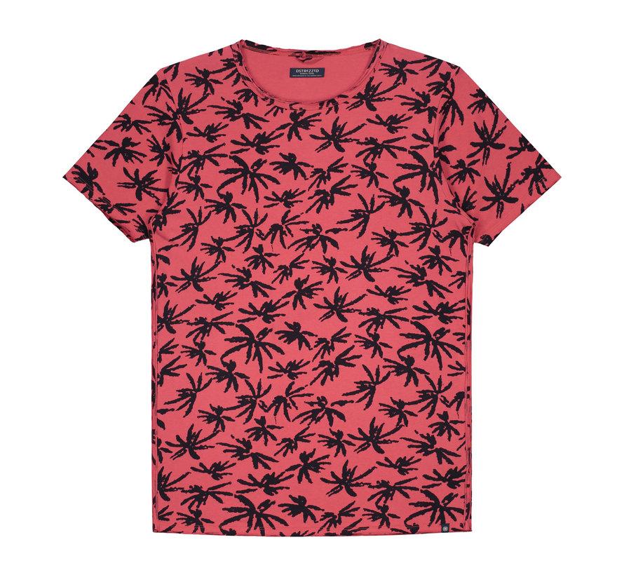T-shirt Print Palmbomen Coral Rood (202376 - 428)