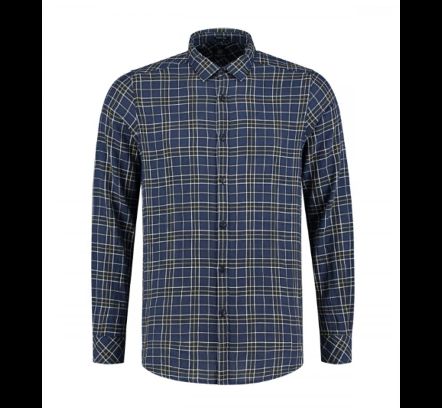 Overhemd Herringbone Ruit Navy (303248 - 669)