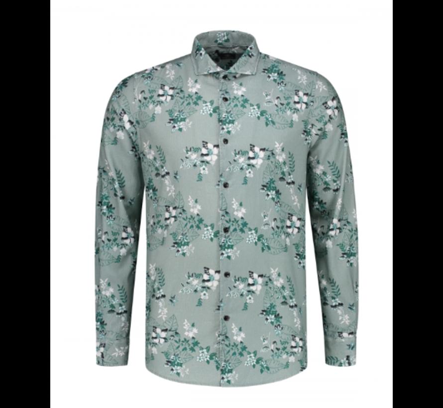 Overhemd Print Bloemen Licht Blauw (303278 - 689)