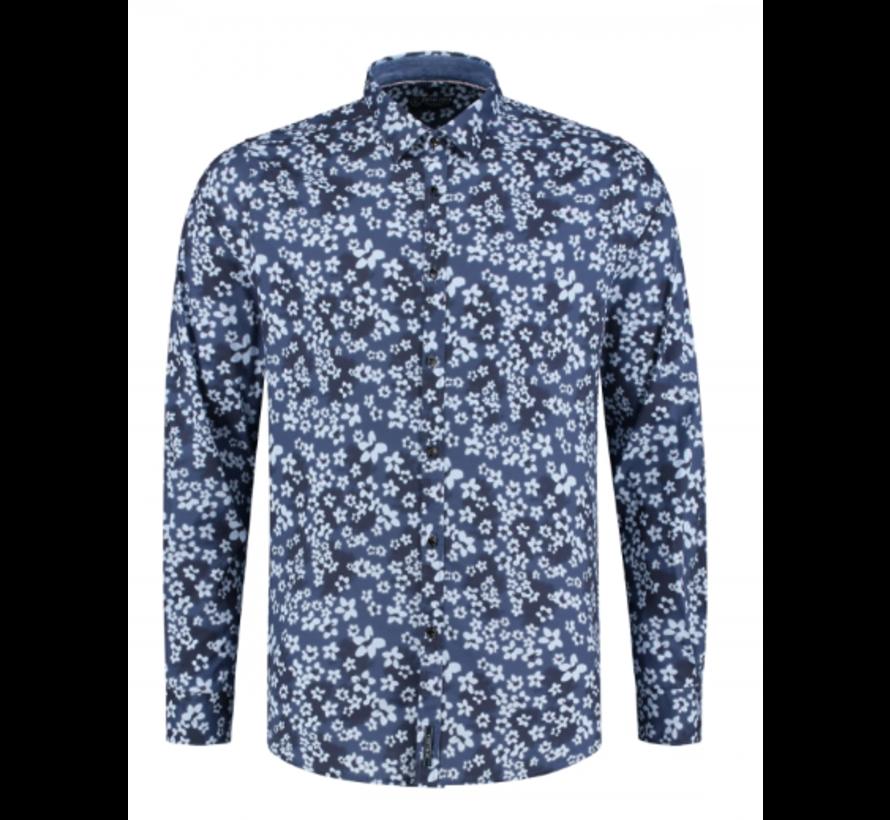 Overhemd Print Bloemen Navy (351014D - 669)