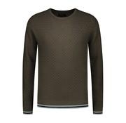 Dstrezzed Sweater Ruit Structuur Army Groen (404196 - 524)