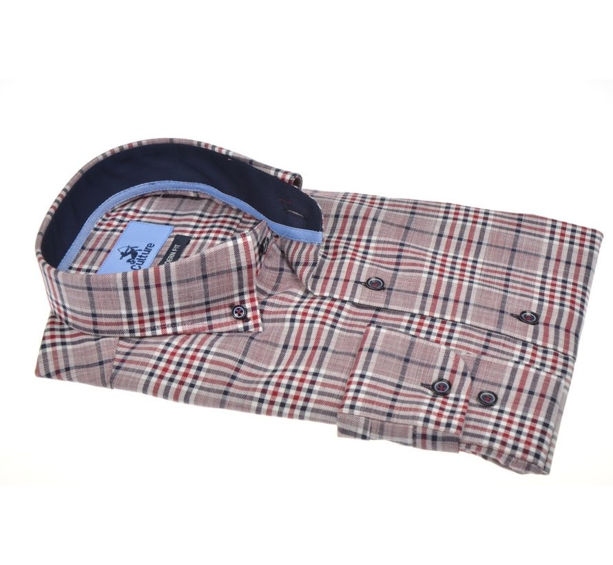 Overhemd Modern Fit Ruit Rood (504055 - 87)
