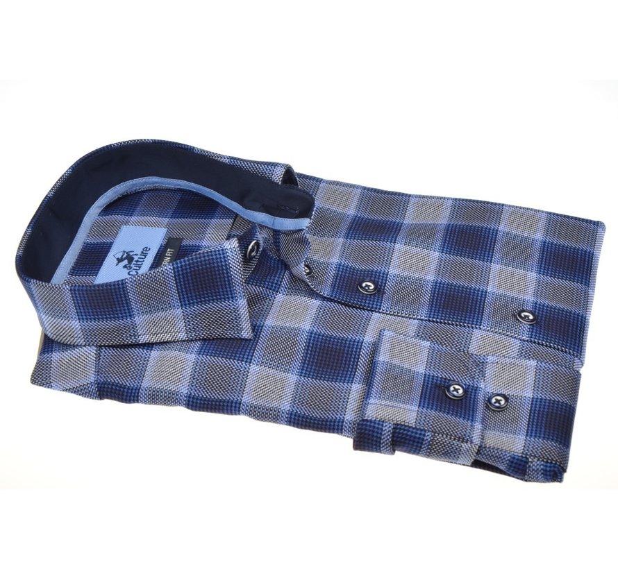 Overhemd Modern Fit Ruit Blauw Grijs (504053 - 36)