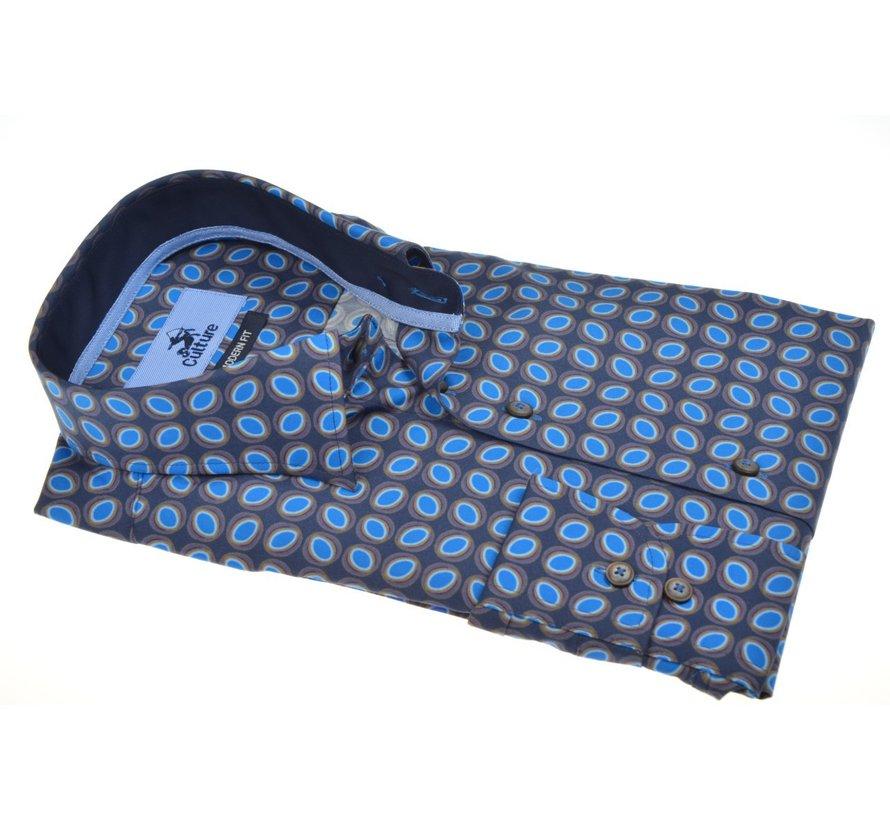 Overhemd Modern Fit Print Cirkels Blauw (513932 - 35)
