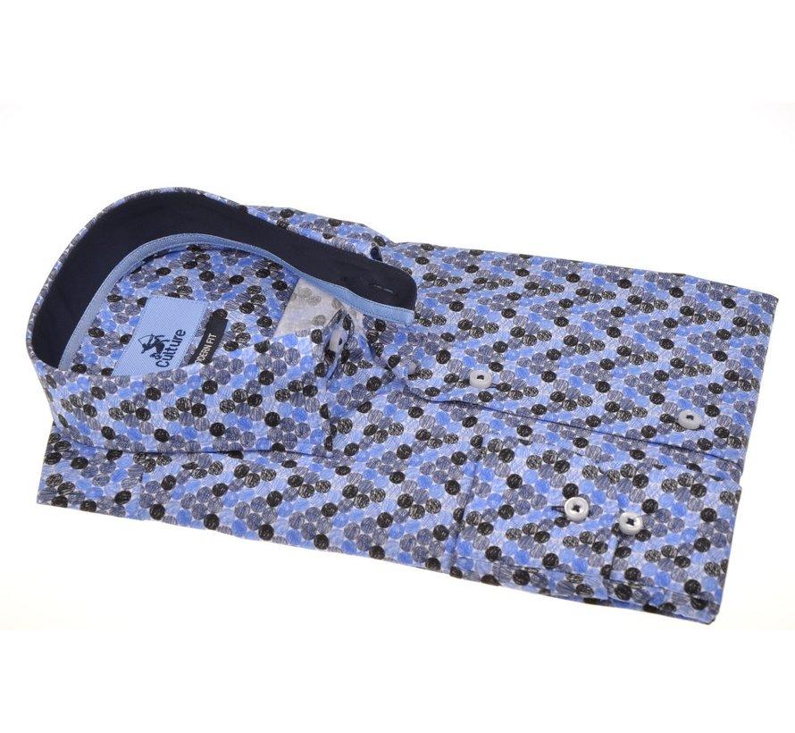 Overhemd Modern Fit Gekleurde Cirkels Blauw (513967 - 37)