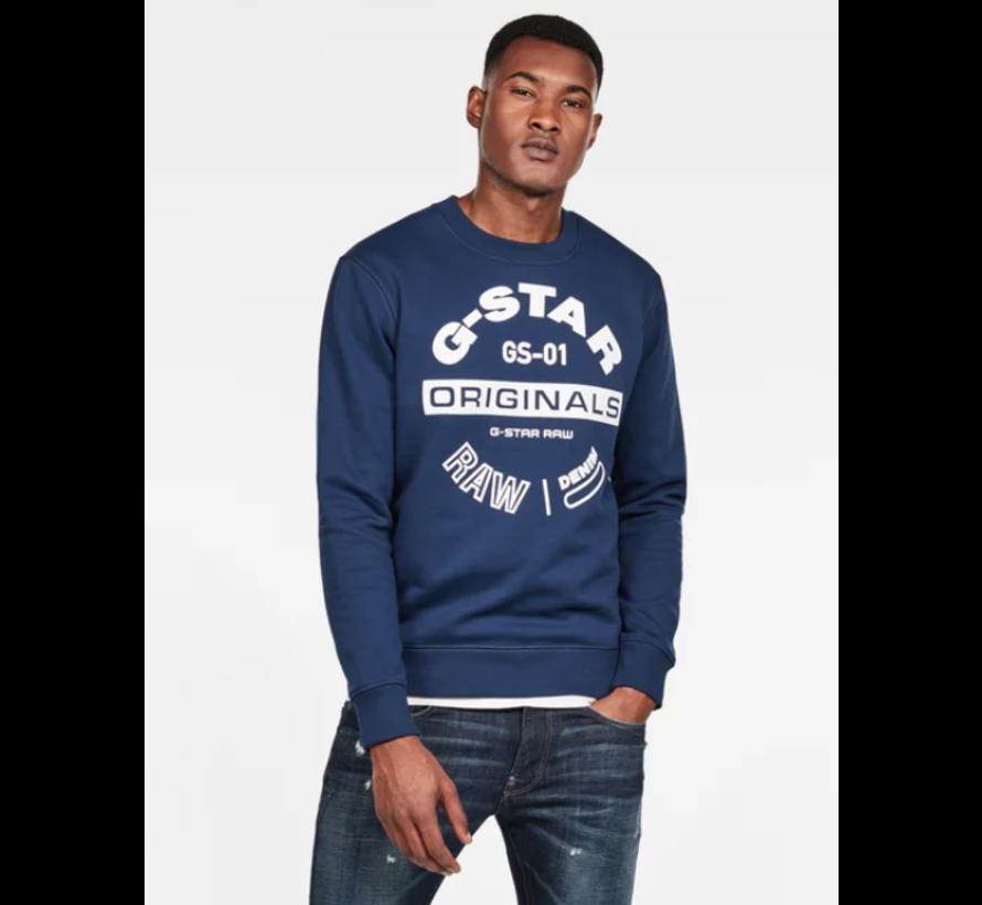 Sweater Ronde Hals Navy Blauw Met Logo (D16466 - A612 - 1305)