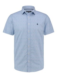Haze&Finn Overhemd Korte Mouw Print Blauw (MC13-0105-04 - StripeFiesta)