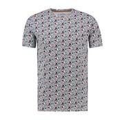 Haze&Finn T-shirt Ronde Hals Bloemenprint Navy (MU13-0002 - IndigoFloral)