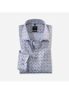 Olymp Overhemd Luxor Modern Fit Print Blauw/Beige (1328 54 27)