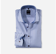 Olymp Overhemd Level 5 Body Fit Print Blauw/Wit (2044 54 27)