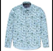 New Zealand Auckland Overhemd Waiuku Print Blauw (20AN559 - 370)