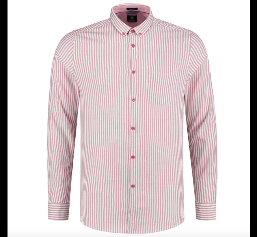 Overhemd Slim Fit Gestreept Rood (303260 - 421)