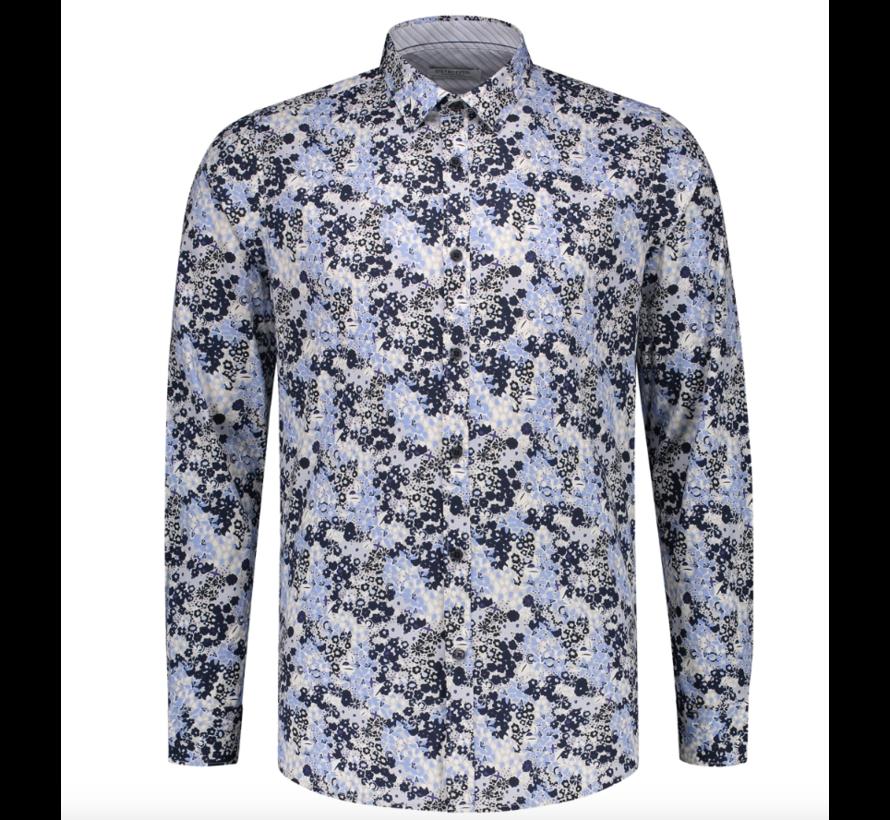 Overhemd Slim Fit Print Wit (303282 - 100)