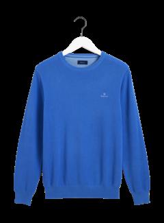 Gant Pullover Blauw Ronde Hals Met Logo (8030521 - 486)