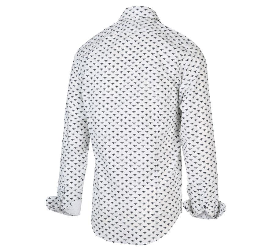 Overhemd Print Wit (2001.21)