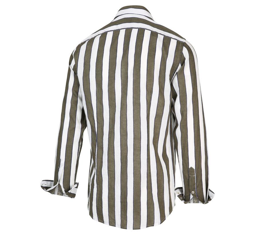 Overhemd Streep Army Groen (2039.21)