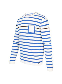 Blue Industry Pullover Streep Wit (KBIS20 - M16 - Off White)