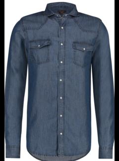Haze&Finn Overhemd Denim Blauw (MU14-0107 - MediumWash)