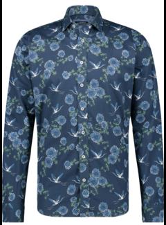 Haze&Finn Overhemd Print Navy Blauw (MC14-0100-10 - FlowerBird)
