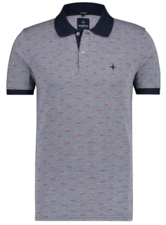 Haze&Finn Polo Korte Mouw Print Navy Blauw (MC14-0301 - DarkNavy-Lollipop)