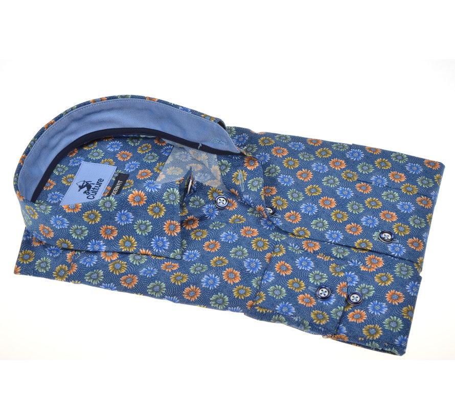 Overhemd Print Bloemen Blauw (215149 - 93)