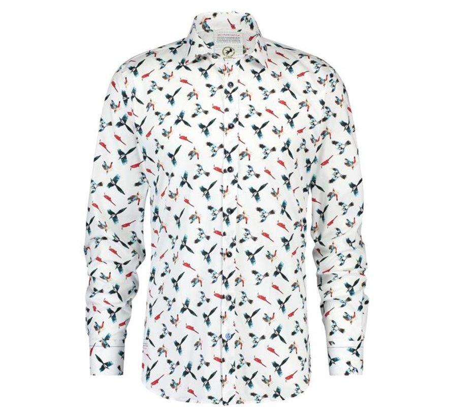 Overhemd Colourful Birds Wit (20.01.005)