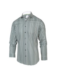 Blue Industry Overhemd Print Groen/Wit (2064.21)