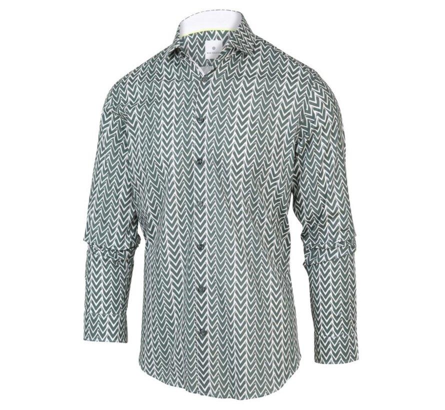 Overhemd Print Groen/Wit (2064.21)
