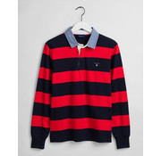 Gant Polo Lange Mouwen Barstripe Heavy Rugger Bright Red (2005031 - 620)