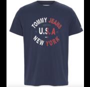 Tommy Hilfiger T-shirt Ronde Hals Met Logo Navy Blauw (DM0DM08100 - C87)