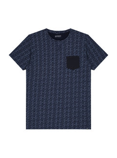 Dstrezzed T-shirt Ronde Hals Print Indigo Blauw (251022D - 640)