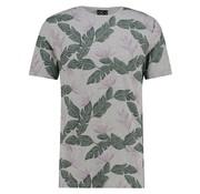 Kultivate T-shirt Ronde Hals Grijs Met Groene Print (1901020222 - 153 - Light Grey Melange)