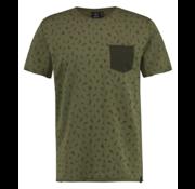 Kultivate T-shirt Ronde Hals Print Army Groen (1901020234 - 394 - Shamrock)