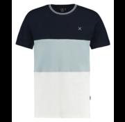 Kultivate T-shirt Ronde Hals Streep Blauw/Groen/Wit (1901020229 - 395 - Celadon)
