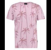 Kultivate T-shirt Ronde Hals Print Palmbomen Roze (1901020226 - 479 - Thistle)